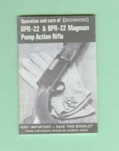 Browning Model Bpr 22 Owners Manual Reproduction