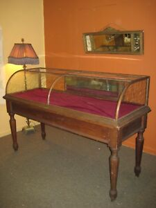 Antique 6 Curved Glass Display Show Case With Table Lutke Co Portland Oregon