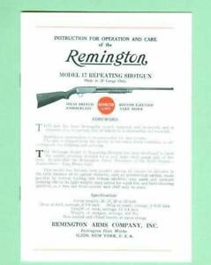 Remington Model 17 Factory Owners Instructions Manual Reproduction