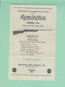 Remington Model 510 510 p Factory Owners Instructions Manual Reproduction