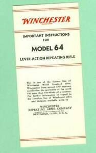 Winchester Model 64 Owners Manual Reproduction