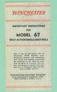 Winchester Model 67 Owners Manual Reproduction