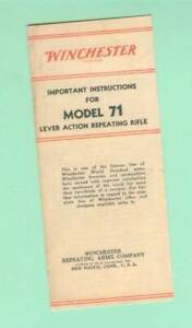 Winchester Model 71 Owners Manual Reproduction