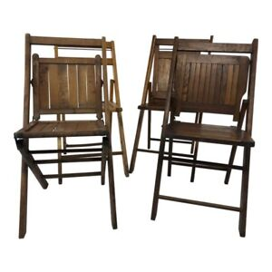 4 Vintage Wood Folding Chair Set Brown Mid Century Rustic Wedding Wooden Country