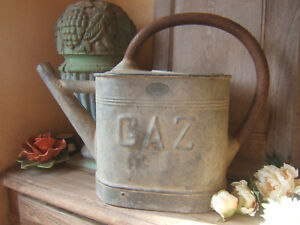 Antique French Large Size Zinc Steel Galvanized Watering Can Paris Label Ca 1900