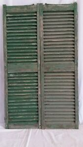 Antique Victorian Pair Wood Shutters Peg Mortise Tenon 16 X 54 House Window