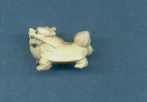 Dragon Turtle Ojime Bead Hand Carved Japanese Miniature Figurine 997
