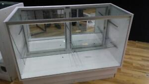 Glass Showcase Counter Display 6 Ft Used Jewelry Store Fixtures White Full View