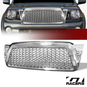 For 05 09 Toyota Tacoma Chrome Honeycomb Mesh Front Bumper Hood Grill Grille Abs