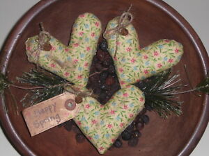 3 Primitive Yellow Spring Floral Farmhouse Hearts Bowl Fillers Ornies Ornaments