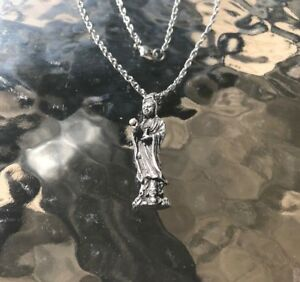 Chinese Court Lady Pewter Necklace Pendant Quan Yin Geisha All New