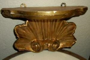 Antique Italian Florentine Carved Wood Gilt Sconce Shelf Shell Oldie