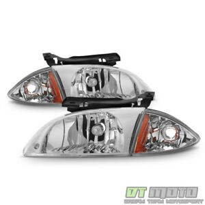 2000 2001 2002 Chevy Cavalier Headlights W corner Parking Lights Headlamps 4pcs