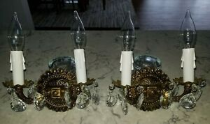 Vintage Antique Brass Crystal 4 Light Arm Ornate French Spanish Sconce Pair Set