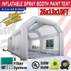 Inflatable Spray Paint Booth W Blower 26x13x10ft Home Garage Car Diy Job Tent
