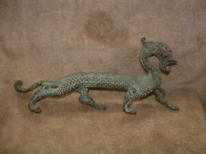 Very Rare Solid Metal Over One Foot Long Chinese Fire Dragon Figurine Statue