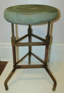 Vtg Metal Steel Steampunk Industrial Mid Century Mechanic Round Stool Chair