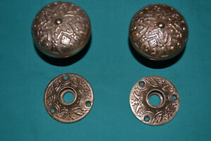 Antique Vintage Set Of Brass Door Knobs And Matching Brass Rosettes 53