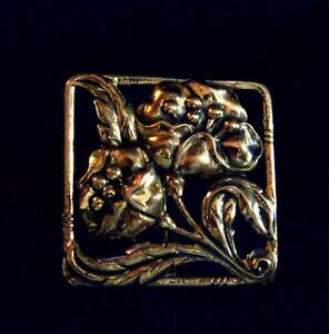 Sterling Silver Pin Brooch Antique Deco Nouveau Large Square Floral Flower 13 8g