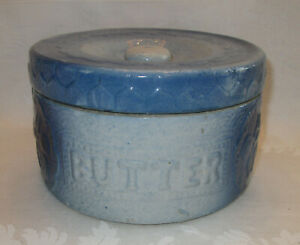 Antique Primitive Blue And White Stoneware Butter Crock W Lid Embossed Cherries
