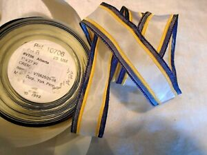 Vintage French Wired Ribbon Orig Bolt 6 Yds X 1 Blue Yellow Border Cream
