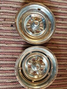 1963 64 Pontiac Custom Sport Mag Style Hub Caps Wheelcovers 2 Good Original