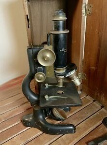 Original Bausch Lomb Brass Microscope With Wooden Case 1915