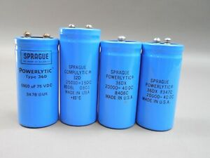 Lot Of 4 Sprague Large Can Electrolytic Capacitor