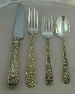 S Kirk Repousse Sterling Silver Four Piece Setting Bolstered French Blade Knife