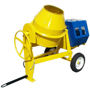 13hp Towable 9 Cubic Feet Cement Mixer 12 Volt Electric Starter Gas Concrete