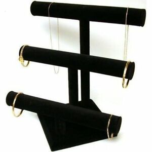 3 Tier Black Velvet T bar Bracelet Necklace Jewelry Display Stands 2 Pcs