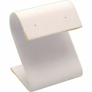 White Faux Leather Earring Countertop Jewelry Display Stand 2 25 Kit 24 Pcs