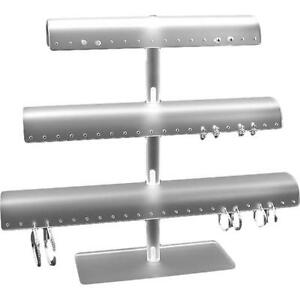 White Acrylic Three Tier T bar 60 Pair Earring Display Stand Kit 5 Pcs