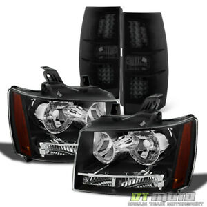2007 2014 Chevy Suburban Tahoe Headlights Blk Smoke Led Tail Lights Brake Lamps