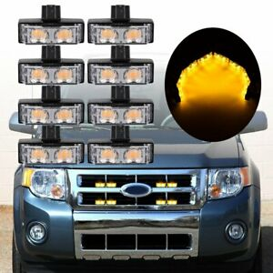 8pcs Amber 2 Led Front Grill Strobe Lights Emergency Warning Flash W Controller