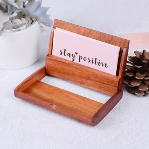 1pc Redwood Name Card Business Card Holder Handmade Box Storage Id Credit Case H