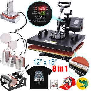 8in1 Dual Heat Press Machine Digital Transfer Sublimation Mug T shirt Swing Away
