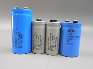 Lot Of 4 Large Can Electrolytic Capacitor Philips Mepco