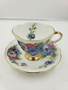 Vintage Clarence Bone China Tea Cup Saucer England Harvest Glory Numbered