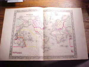 1860 World Map Large Hand Colored With Explorer Routes Mitchell S Atlas Vg