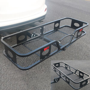 500lbs Hitch Mounted Folding Cargo Carrier Black Steel Iron Durable
