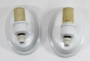 Vintage Pair Of Edwin F Guth Co Porcelain Enamel Bathroom Wall Light Fixtures