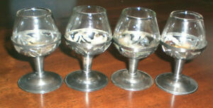 4 Vintage Mexico Sterling Silver Overlay Cordials Mini Brandy Sniffers Taxco