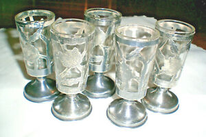 5 Vintage Mexico Sterling Silver Overlay Cordials Shot Glass Set