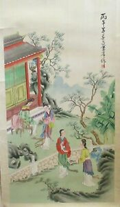 Large Chinese People Temple Original Watercolor On Silk Painting Signed