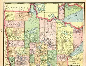 1905 Antique Minnesota State Map Vintage Map Of Minnesota Gallery Wall Art 6590