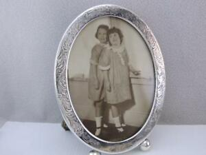 Antique William Kerr Sterling Silver Photo Picture Frame Forget Me Not Flowers