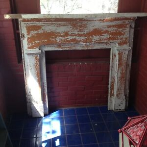 Antique Painted Wood Circa 1870 Fireplace Mantel Facade Architectural Salvage