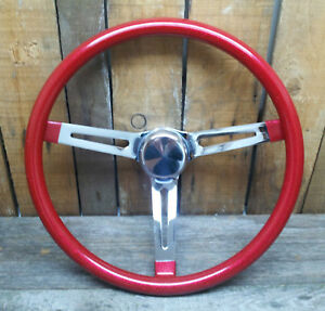 13 Red Metalflake Steering Wheel Rat Hot Rod Custom Vtg Syle Gasser Vw Van Bomb