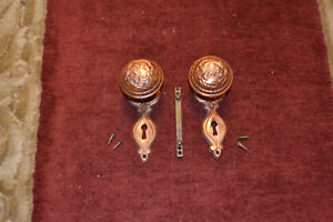 Antique Vintage Aesthetic Set Of Solid Brass Door Knobs Face Plates 33
